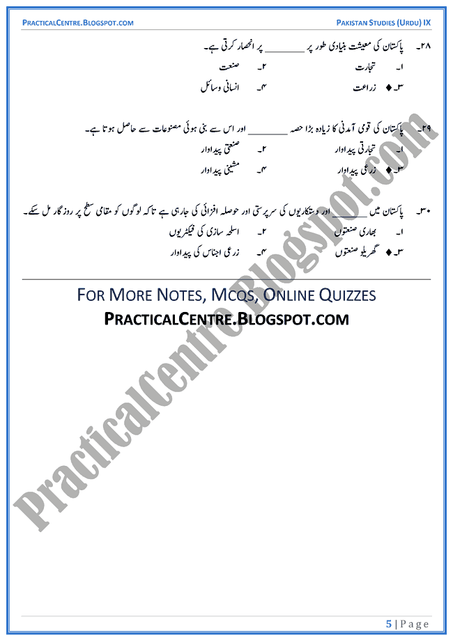pakistan-a-welfare-state-mcqs-pakistan-studies-urdu-9th