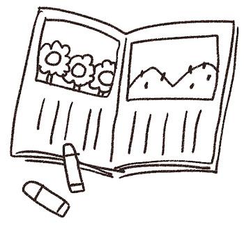 絵日記のイラスト(夏休み)線画