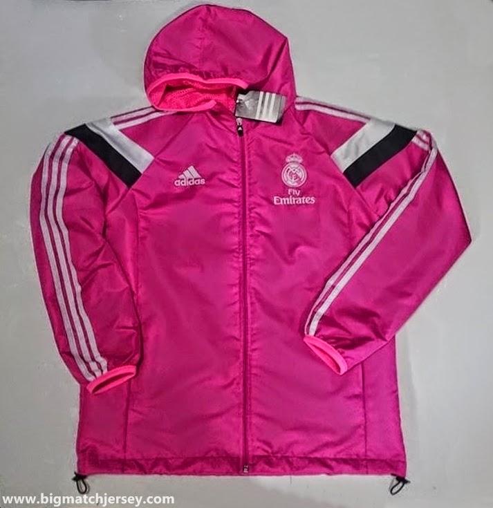 Jaket Waterproof Adidas Real Madrid Pink Official 2014 - 2015