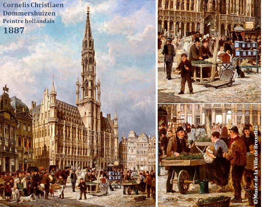 Grand-Place de Bruxelles - Hôtel de Ville et Marché en 1887 (Cornelis Christiaen Dommershuizen, peintre hollandais) - Bruxelles-Bruxellons