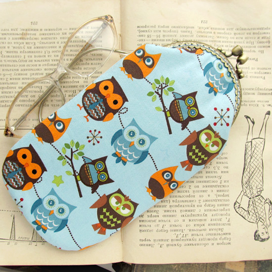 Owls eyeglass case and purse, совы