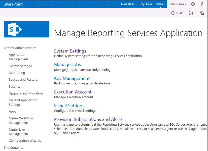 Reporting Services 2013 settings on SharePoint 2013 Central Admin