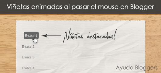 Animar viñetas al pasar el mouse en Blogger