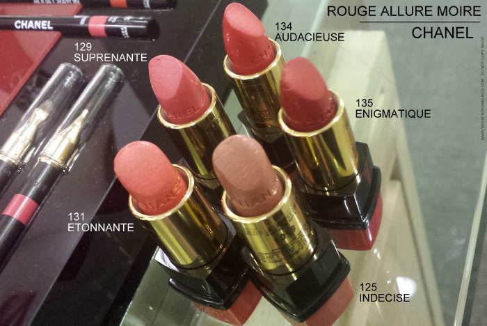 Chanel Rouge Allure Moire Makeup Collection Lipsticks Photos 125 Indecise 131 Etonnante 129 Surprenante 134 Audacieuse 135 Enigmatique Indian Beauty Blog