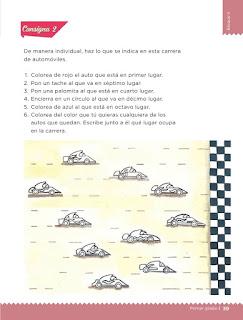Apoyo Primaria Desafíos matemáticos 1er grado Bimestre 2 lección 17 Carrera de autos