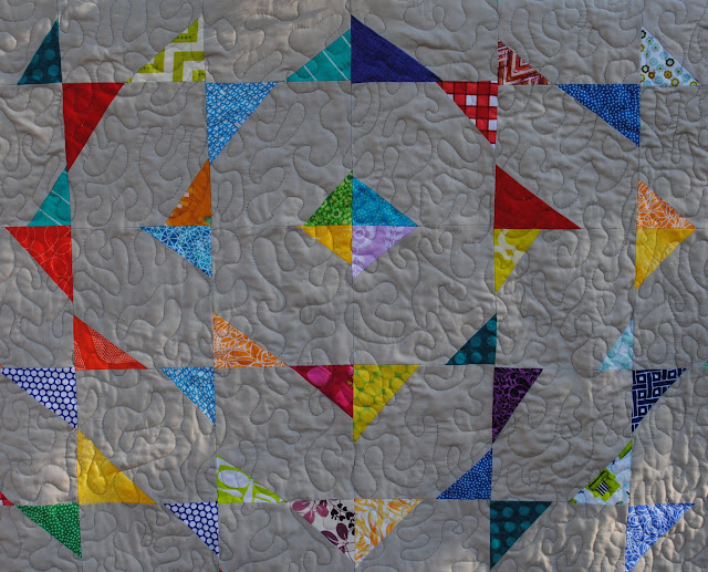 Finished stitch and flip wonky triangle quilt- close up