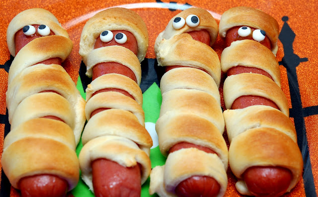 Hot Dogs Wrapped In Crescent Rolls For Halloween