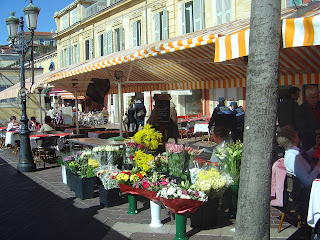 French shopping pots of mimosa