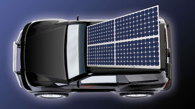 solar electric car charging concept