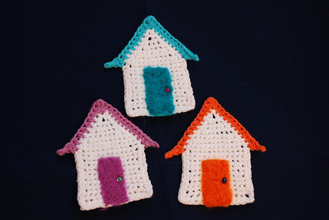 image of crocheted beach huts