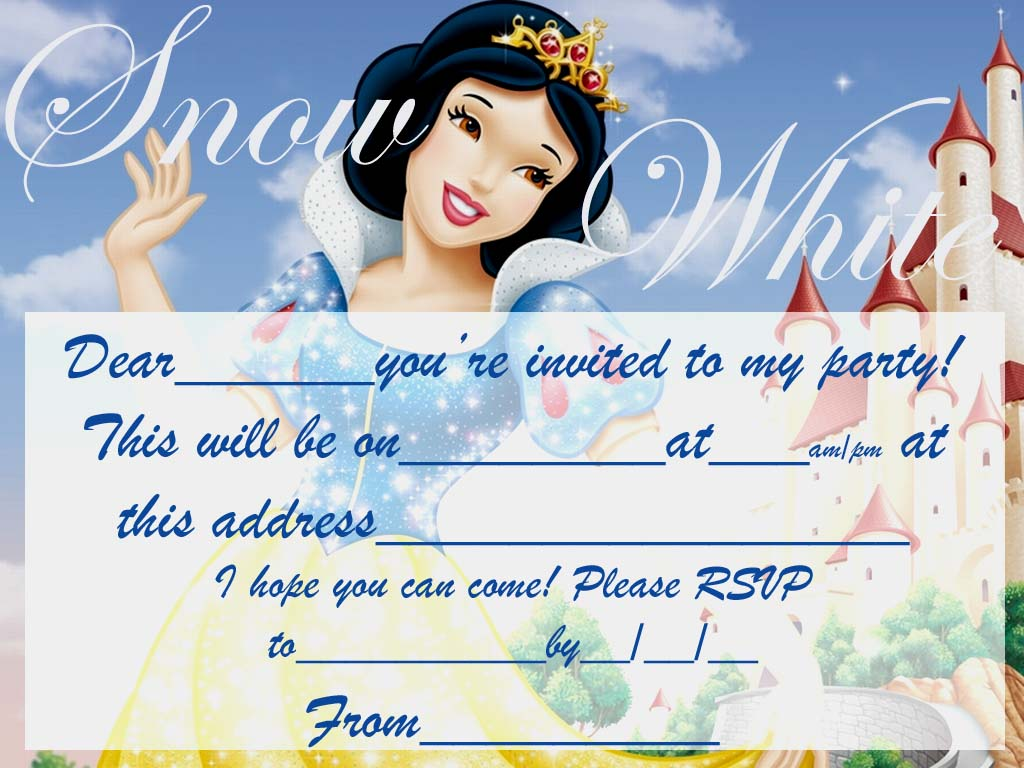 Snowwhite Free Party Invite To Print Coloring Pages For Kids