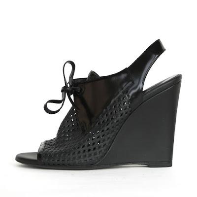 black wedge heel balenciaga cuff glove perforated leather