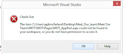 The item could not be found in your workspace, or you do not have permission to access it