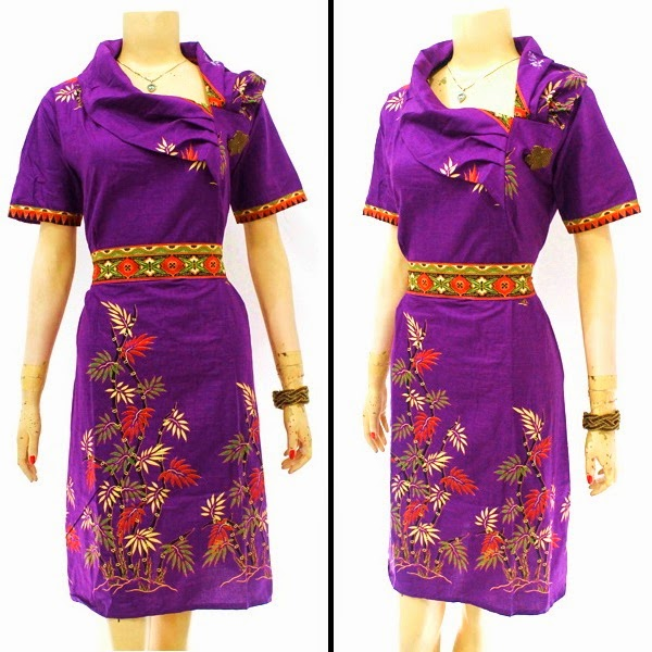 DB3825 Model Baju Dress Batik Modern Terbaru 2014