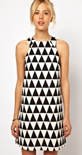 ASOS, Caroline Flack, Dress, Geometric Print, Mini Dress, Monochrome, Shift Dress