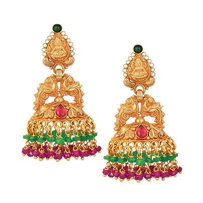 Gold Temple Bell Earrings