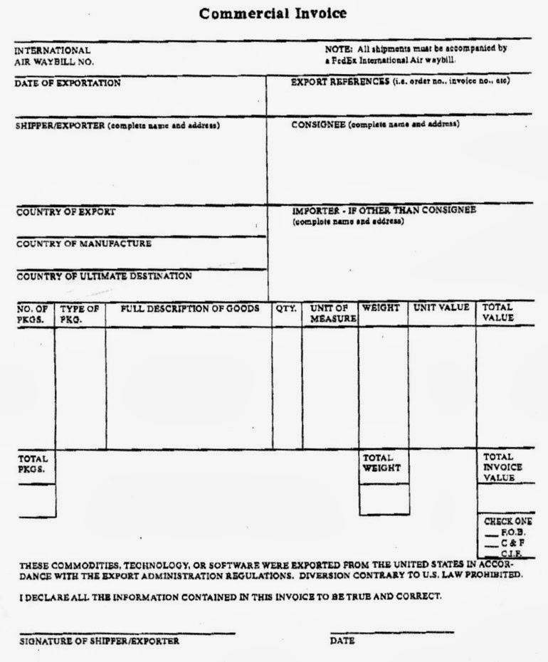 fedex commercial invoice template free – notators, Invoice examples