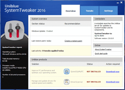 Download Uniblue System Tweaker 2016 With Serial