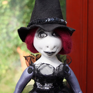 Cerridwen cloth art witch doll
