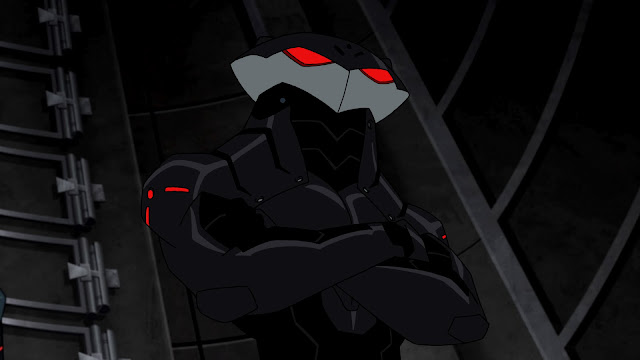 Black Manta does his best impression of the brother in the Public Enemy logo.