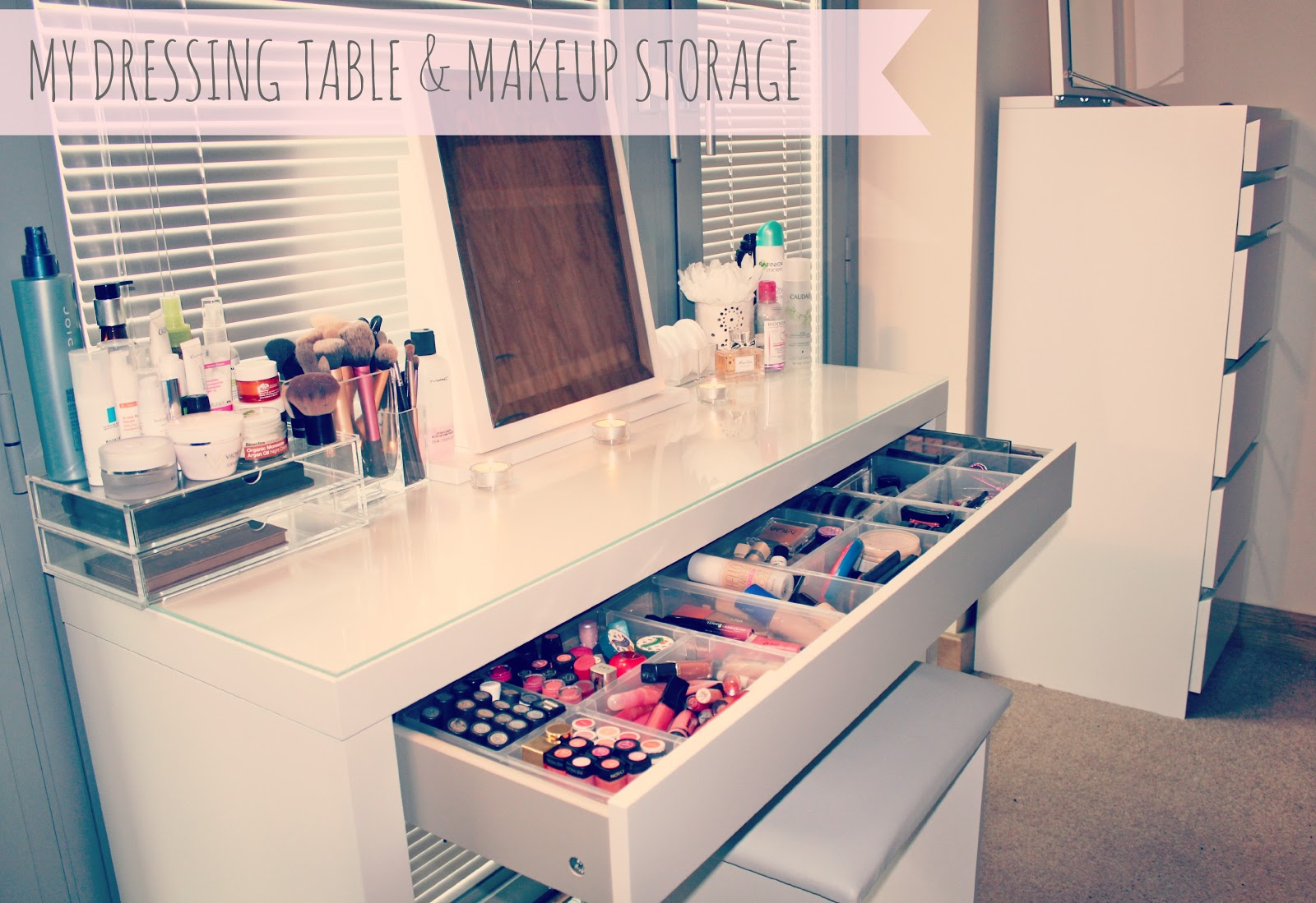My makeup storage ikea malm dressing table sweet for Beauty table organiser