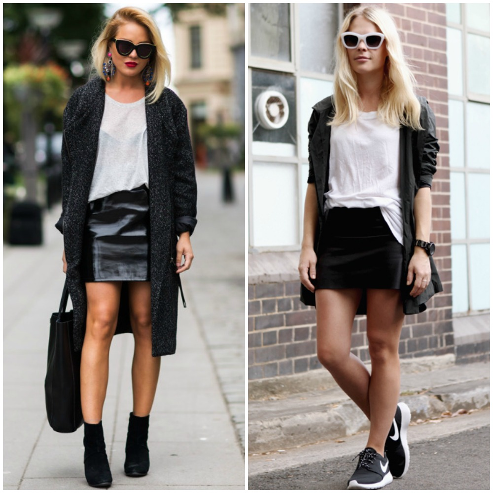 fall 2014 trends - black leather mini skirt outfit street style look fashion - with layers long knit cardigan sneakers outfit