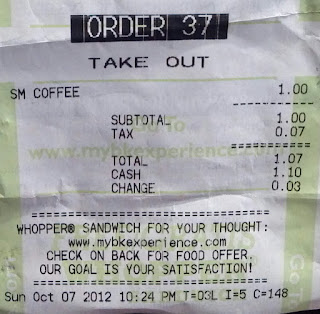 receipt for coffee at a burger king