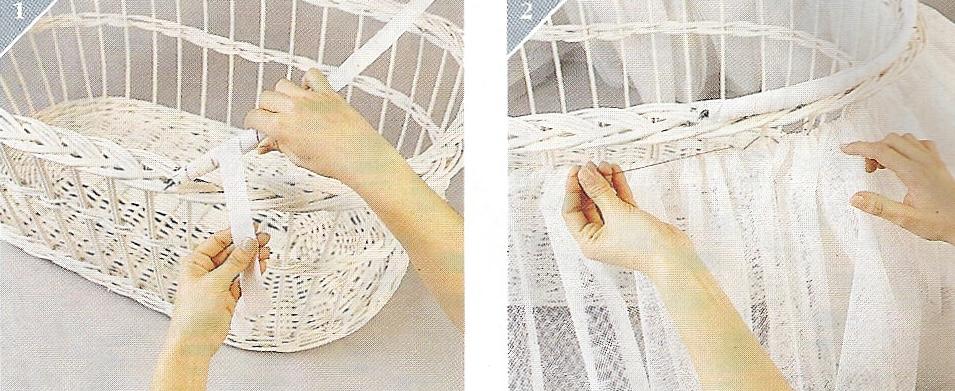 Moises de mimbre para bebés decorados - Imagui