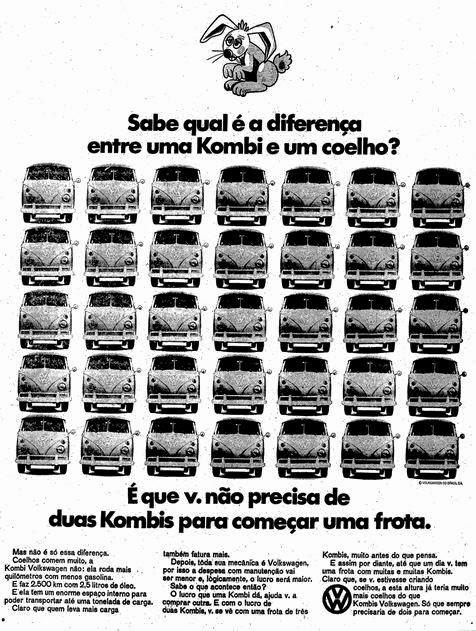 Propaganda da Volkswagen em 1968 para promover as vendas da Kombi.