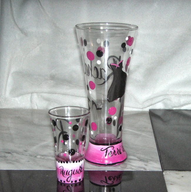 Bachelorette Party Favor - Hand Painted Beer and Shot Glasses