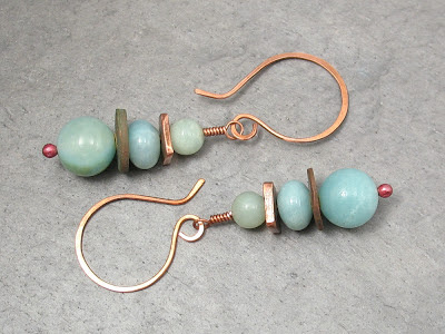 Amazonite & Copper Dangle Earrings