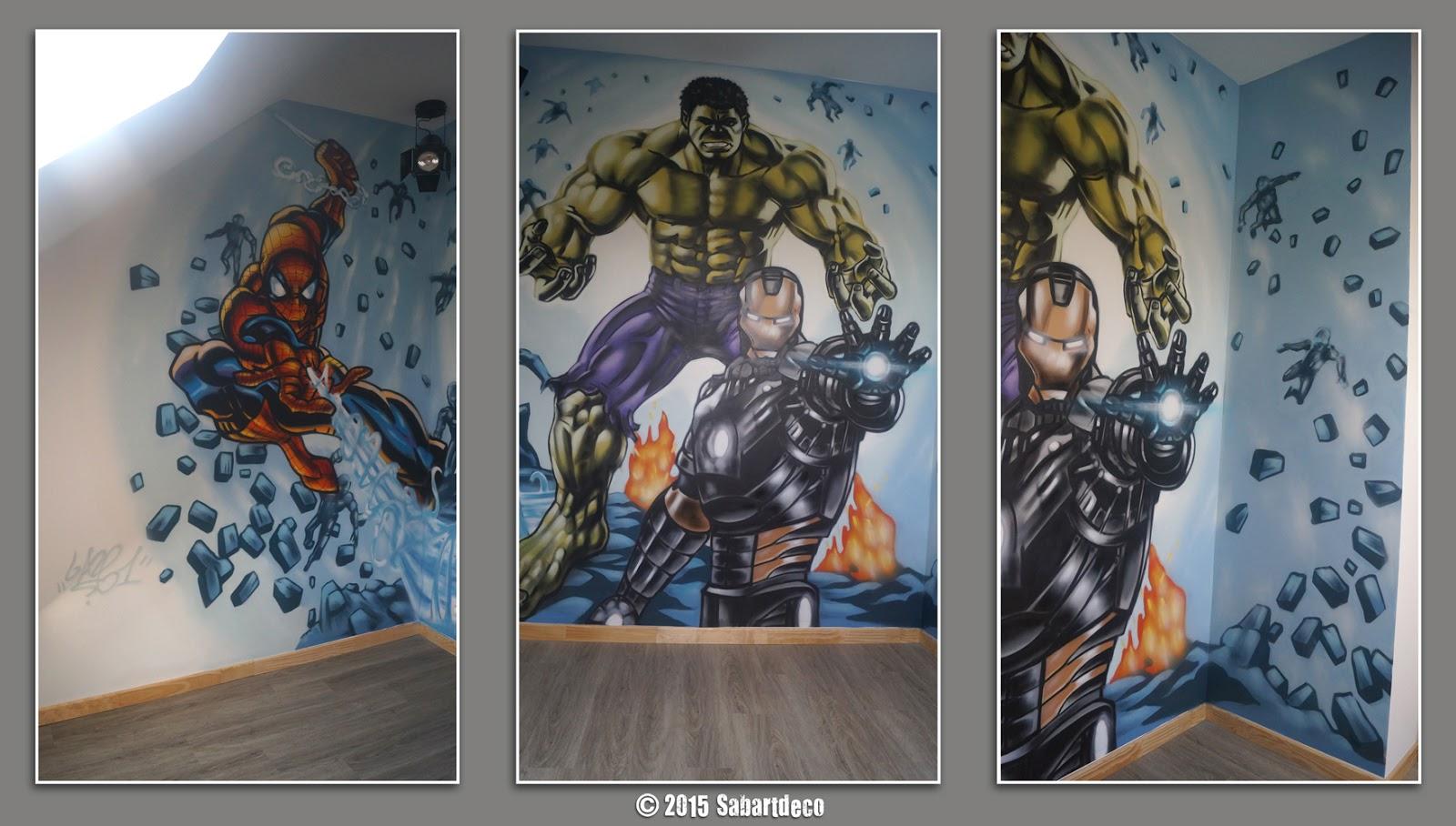 sabartdéco Décoration Chambre  Avengers  à Estaimpuis