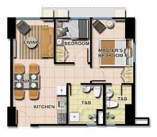Avida Towers Centera Tower 3 Two Bedroom Unit Plan
