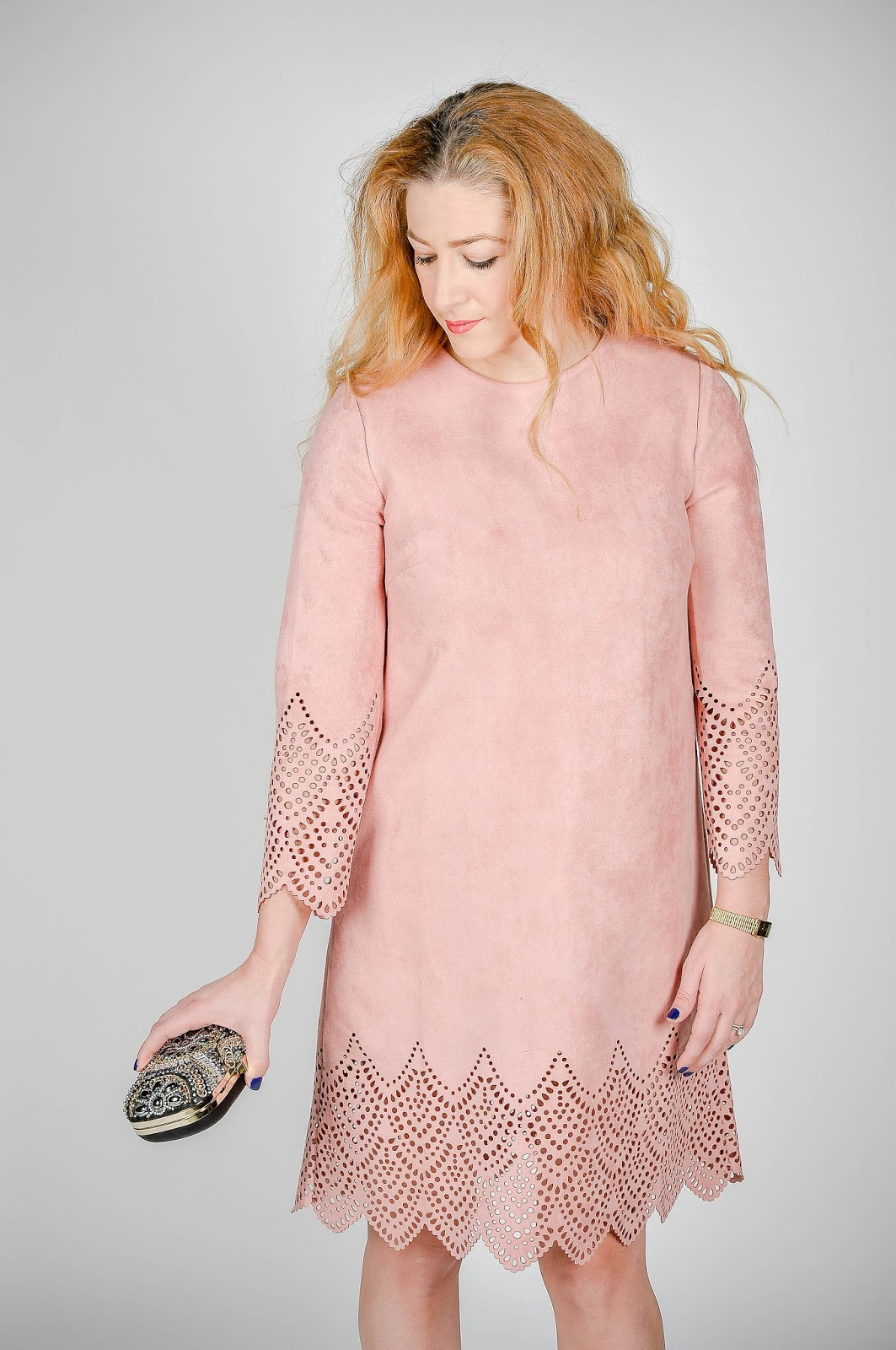 blush suede dress
