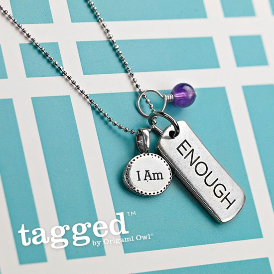 I Am Enough Tagged by Origami Owl Necklace from StoriedCharms.com