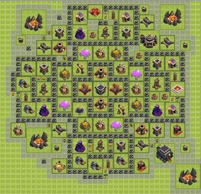 Base COC anti Hog Rider dan Dragon Untuk Town Hall 9