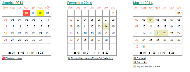 Calendario 2014 Imprimir Para Imprimir o Calendário