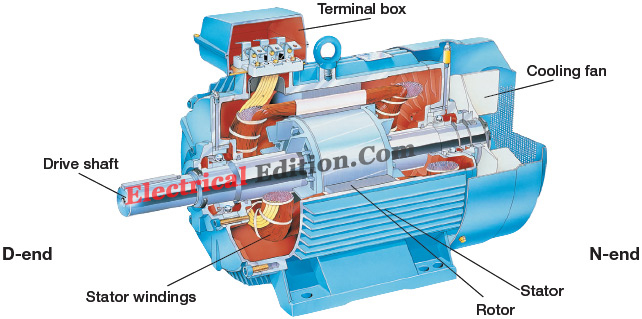 Construction of induction motor electrical edition for Three phase asynchronous motor