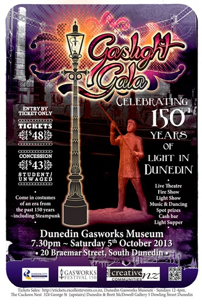 Dunedin Gasworks Museum 'Gaslight Gala' poster designed by Kura Carpenter