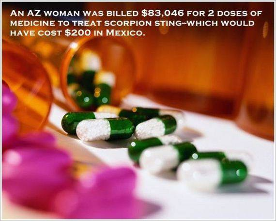 AN AZ WOMAN WAS BILLED $83,046 FOR 2 DOSE OF MEDICINE TO TREAT SCORPION STING-WHICH WOULD HAVE COST $200 IN MEXICO.