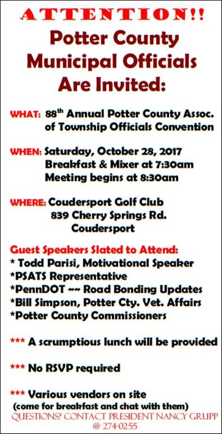 10-28 Potter County Township Officials Convention