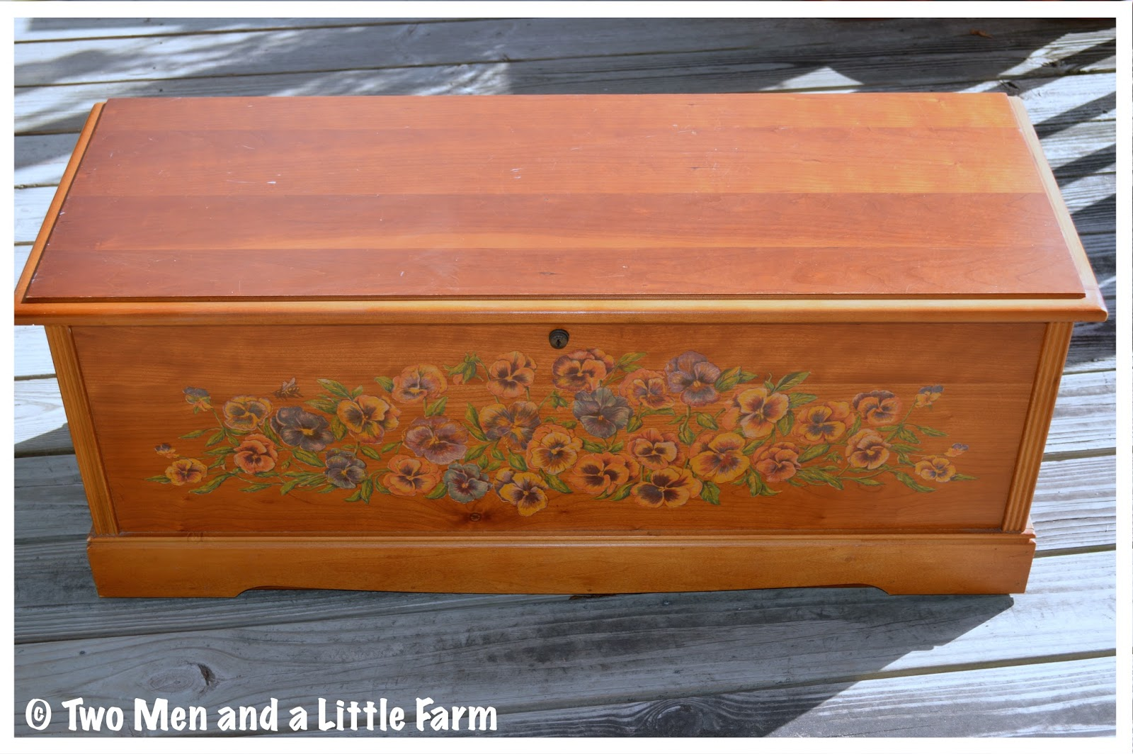 lane cedar chest with pansies