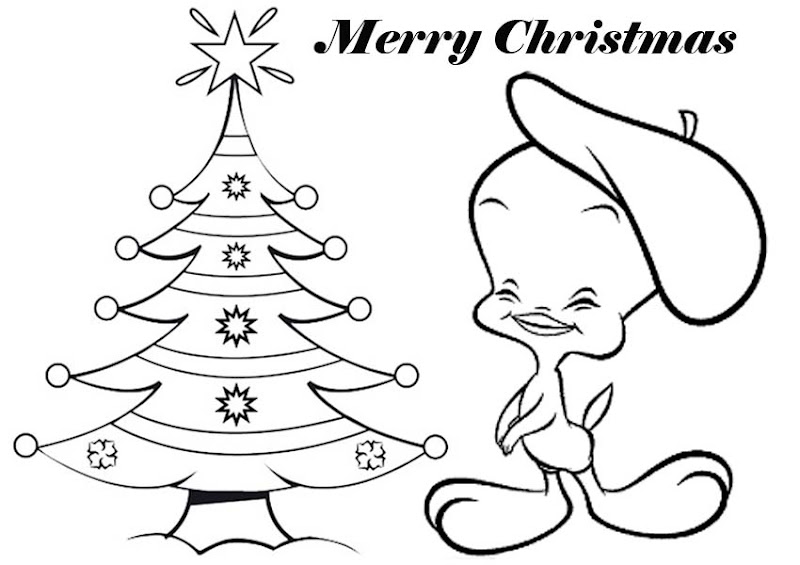 Tweety Christmas Coloring Pages title=