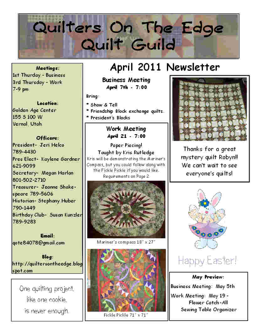 Quilt Guild Newsletter Ideas : Quilters On The Edge Quilt Guild: April 2011 Newsletter