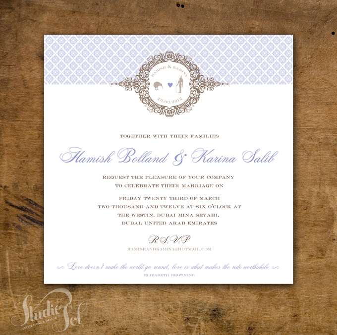 Studio sol invitations and design dubai karina and hamish wedding dubai wedding invite stopboris Choice Image