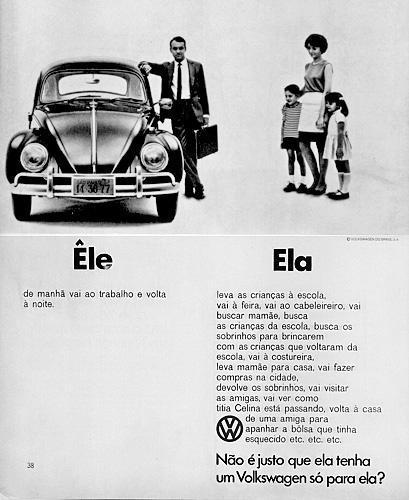 Propaganda do Volkswagen Fusca - Foco na venda de carro para mulheres - Anos 60. Brasil.