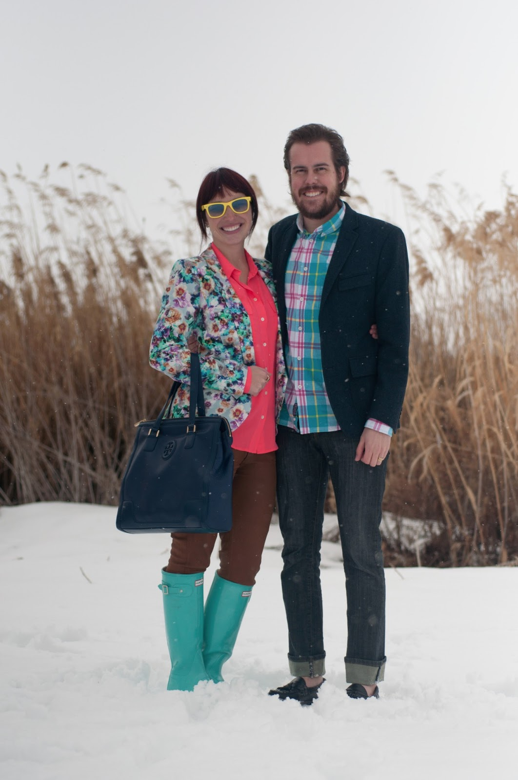 fashion blog, fashion blogger, mens fashion, mens style blog, ootd, floral, floral blazer, blue, pink, teal, hot pink, floral print, floral clothing, nordstrom, jcrew, jcrew blouse, silk blouse, blouse, waxed jeans, waxed pants, citizens of humanity, hunter, hunter boots, rain boots, rain boot, teal hunter boot, blue hunter boots, glossy boots, boot, glossy hunter boot, tory burch, leather purse, navy purse, leather purse, navy leather, ray ban, ray bans, wayfer, wayfer ray ban, earrings, bow earrings, gold earrings, womens style, fashion, style, fashion blogger, womens fashion blogger, mens fashion blogger, personal style, outfit post, style post, banana republic, mens blazer, banana republic blazer, penfield, css, california cheap skate, allen edmonds, classic mens shoes, old man shoe, black dress shoe, plaid,