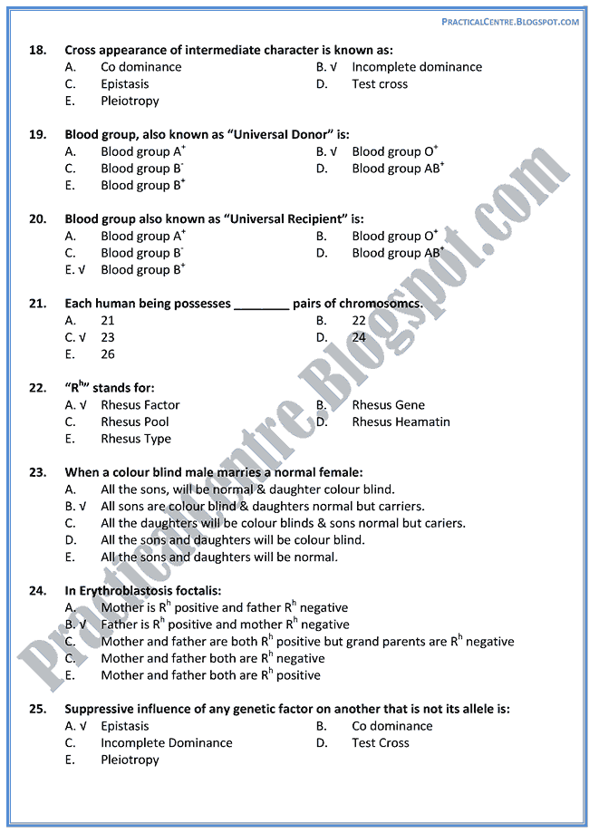 genetics multiple choice questions Practice exams general genetics these practice exams were put here to help you monitor your progress in genetics do not study only these questions as new questions will be written for each test and old questions will be modified.