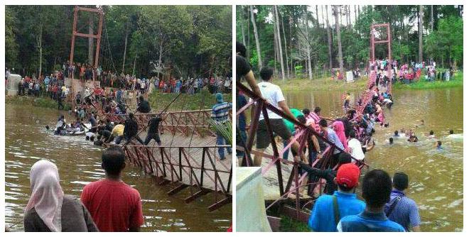 Foto Jembatan Gantung Roboh di Serang ABG Alay