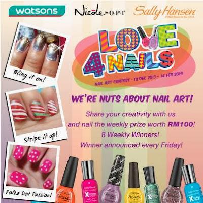Sally Hansen, Nicole by OPI, Nail Workshop, Giveaway, nail care, nail colors, nair art, nail treatment, Nicole by OPI Malaysia Nail Art Contest, Watsons malaysia